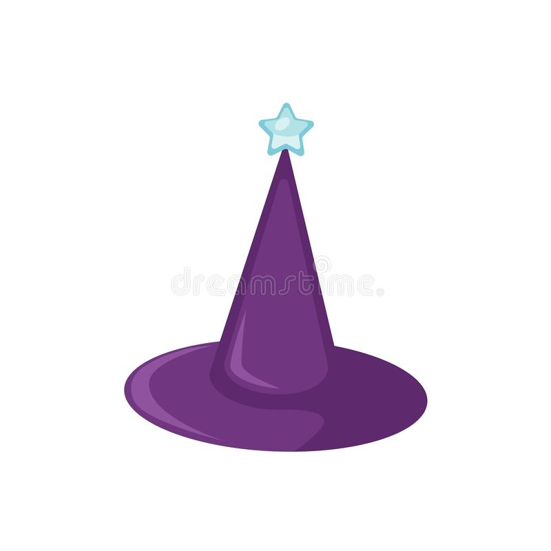 Purple wizard hat flat vector illustration. Magical headwear, illusionist accessory isolated on white background royalty free illustration