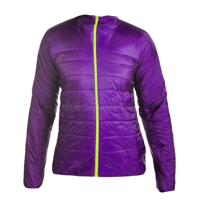 Purple women winter jacket. On white background royalty free stock images