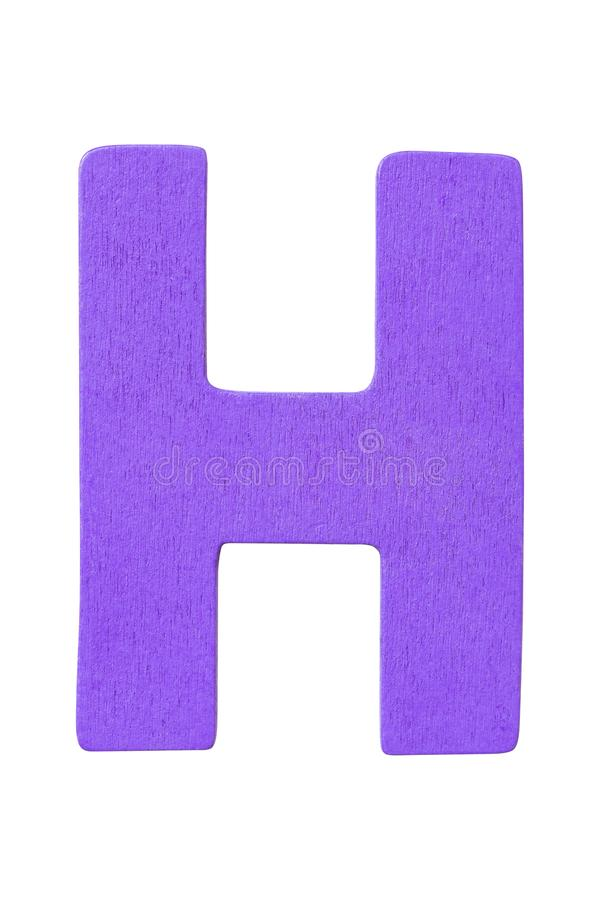 Purple wooden alphabet capital letter H isolated on white background stock images
