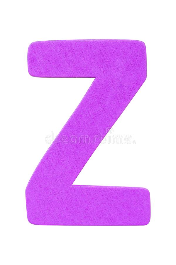 purple wooden alphabet capital letter Z isolated on white background stock images