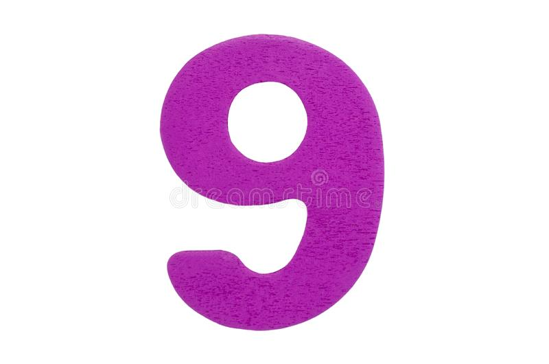 Purple wooden number nine without shadow isolated on a white background. royalty free stock image