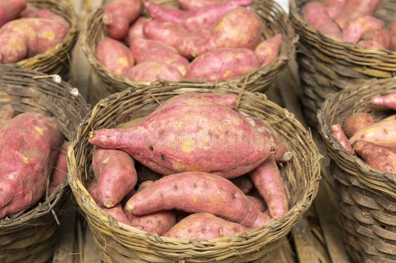 Purple yams in wooden basket royalty free stock photos