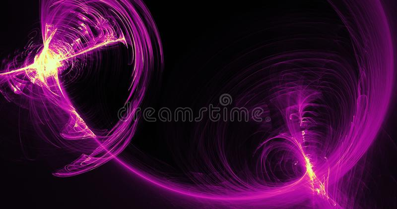 Purple And Yellow Abstract Lines Curves Particles Background. Abstract Design In Yellow And Purple Lines Curves Particles On Dark Background vector illustration