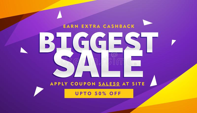 Purple and yellow biggest sale discount voucher design template royalty free illustration