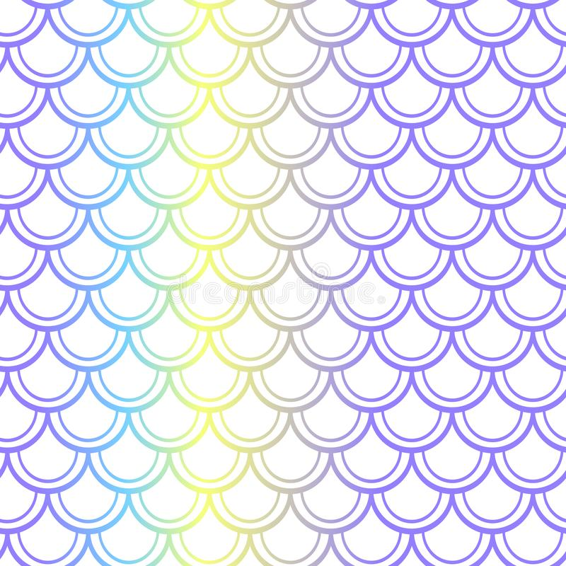 Purple yellow fish scale seamless pattern. Colorful gradient net on white. stock illustration