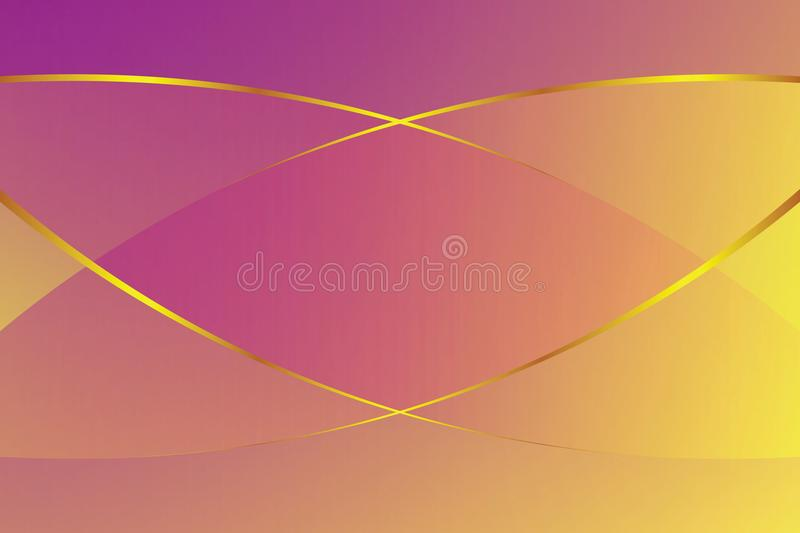 Purple and yellow gradient color soft light and golden line graphic for cosmetics banner advertising luxury modern background. Illustration vector illustration