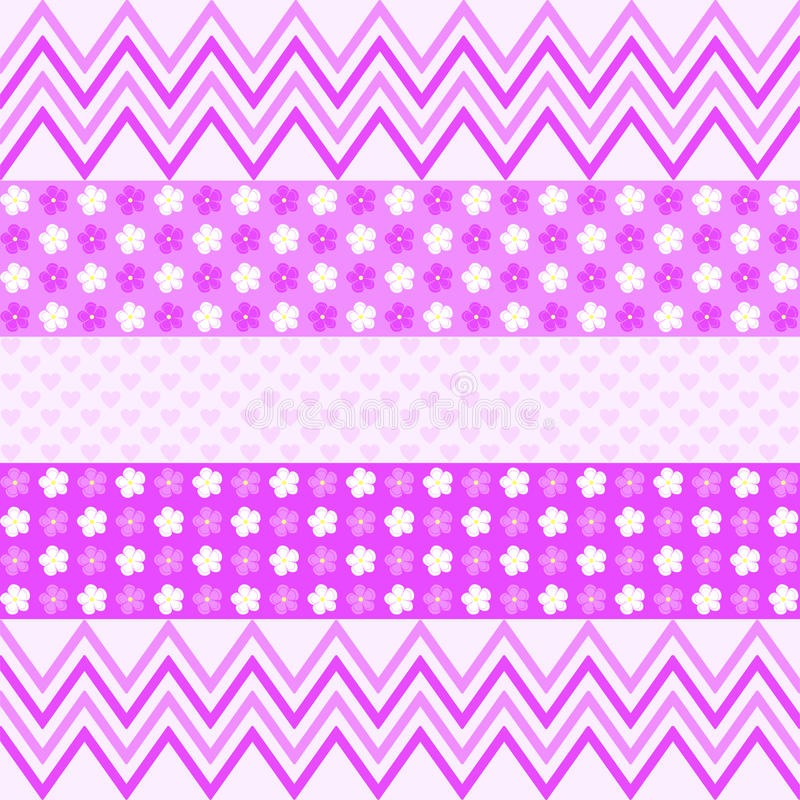Purple zigzag pattern, flowers and small hearts stock illustration