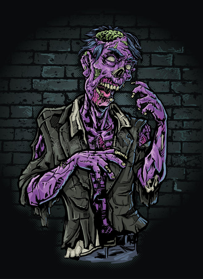 Purple Zombie. A purple zombie in a back alley. Aim for the head