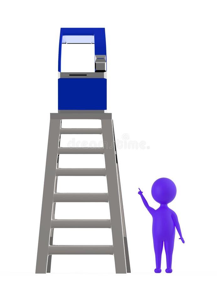 purplecharacter 3d que aponta as mãos para cima para uma máquina do atm que esteja sobre uma parte superior do conceito da escada ilustração stock