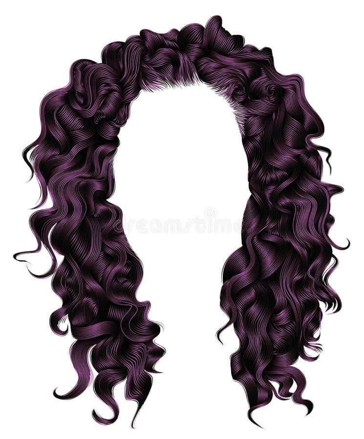 Purplecolors largos de los pelos rizados Estilo de la moda de la belleza peluca stock de ilustración