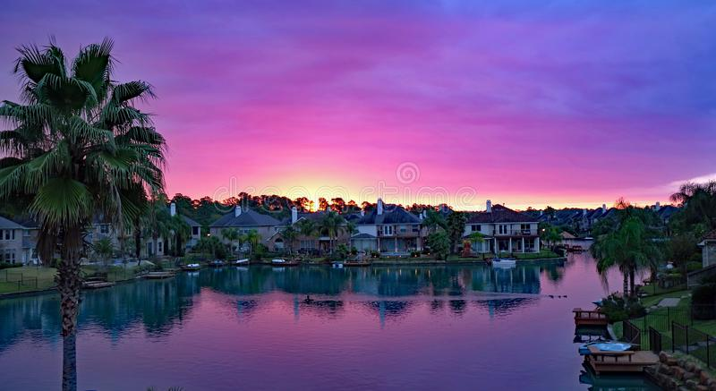 Beautiful colors in the sunrise in Cypress, Texas stock photos