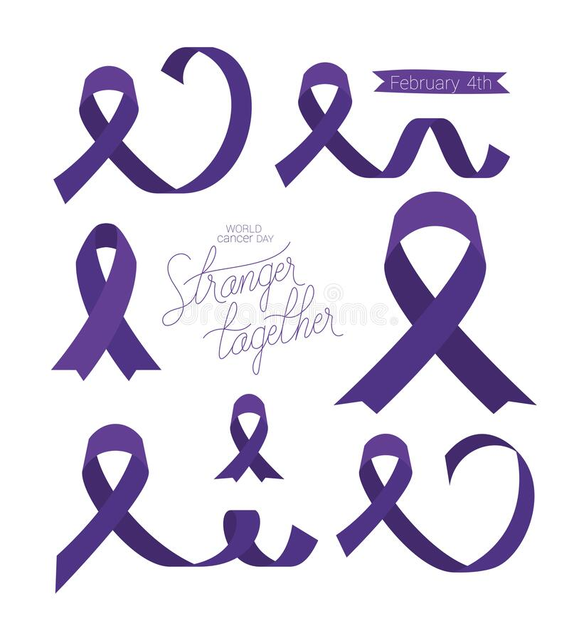Free Purples Ribbons And Stranger Together Text Of World Cancer Day Vector Design Royalty Free Stock Image - 170765116