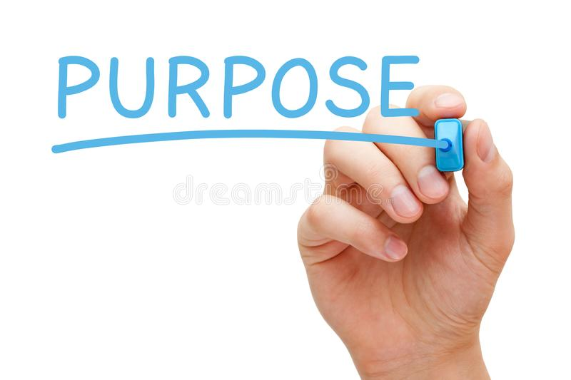 Purpose Blue Marker. Hand writing Purpose with blue marker on transparent wipe board stock images