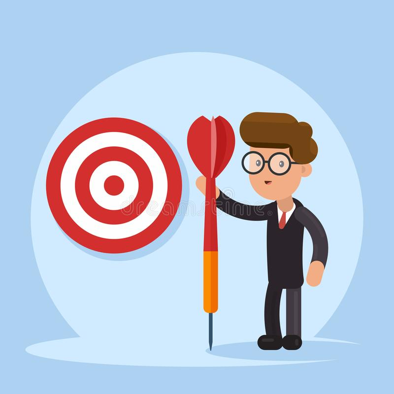 Purpose business concept. Purposeful businessman with spear in hand stands with the target. Achievement of goal. Vector stock illustration