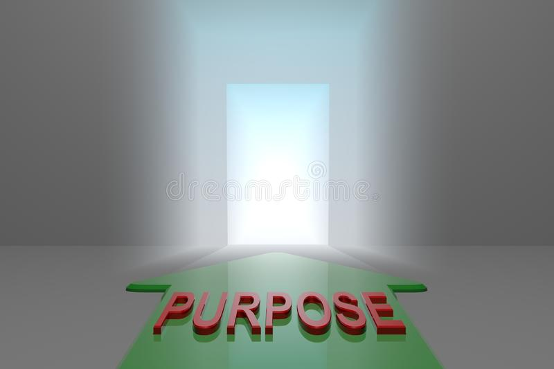 Purpose to the open gate. Green arrow with purpose word front of the open gate , 3d rendered vector illustration