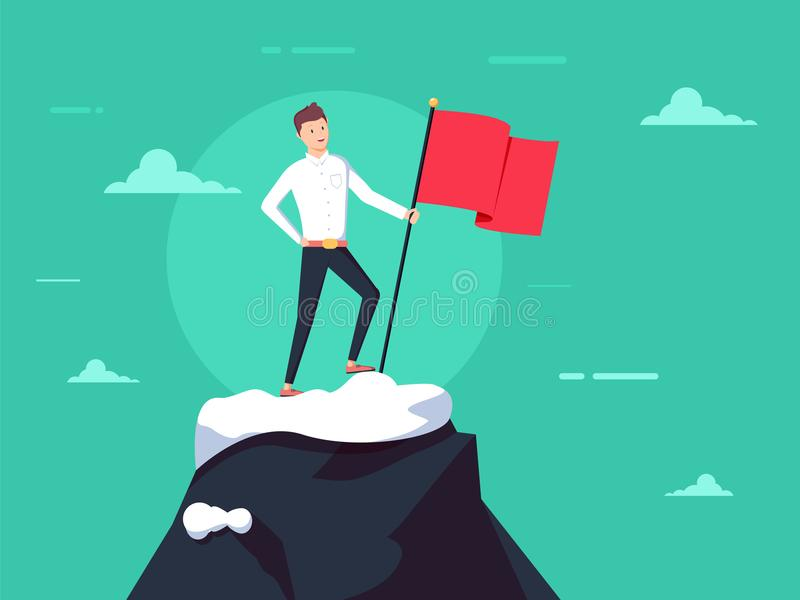 Purposeful businessman with flag in hand. Beginning of way to achievement of goal. Standing in front climb to mountain. vector illustration
