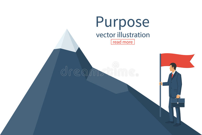 Purposeful businessman with flag in hand stock illustration