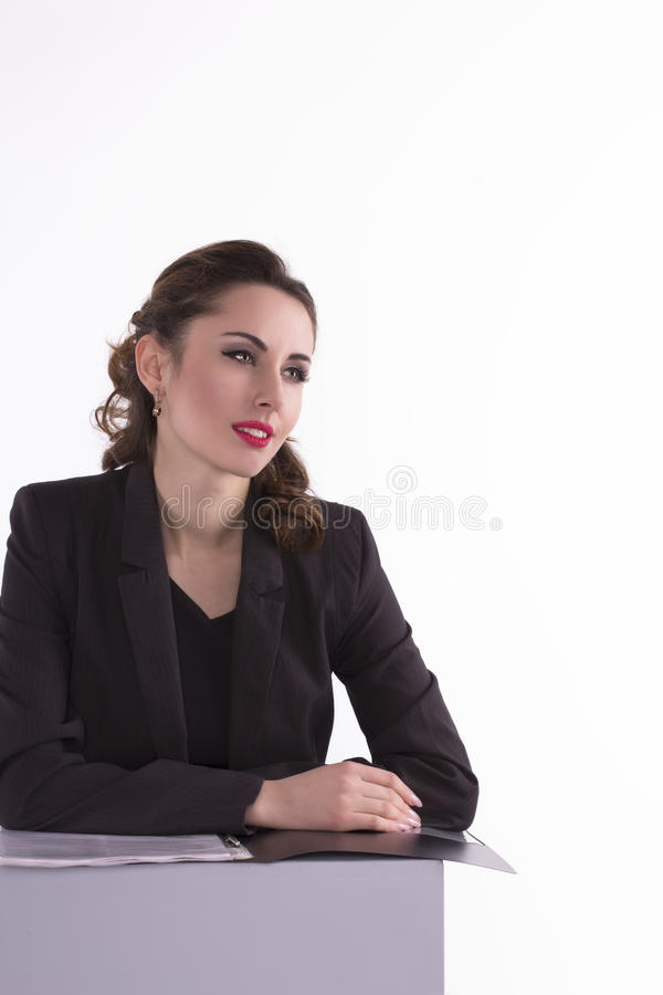 Purposeful businesswoman looking forward royalty free stock image