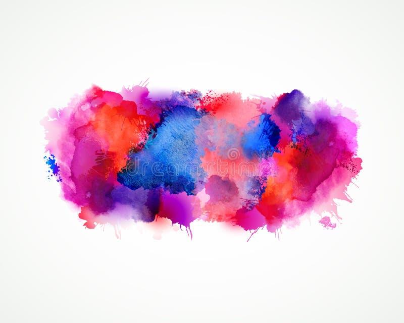 Purpur, błękita, bzu, pomarańcze i menchii akwareli plamy, Jaskrawy koloru element dla abstrakcjonistycznego artystycznego tła ilustracja wektor