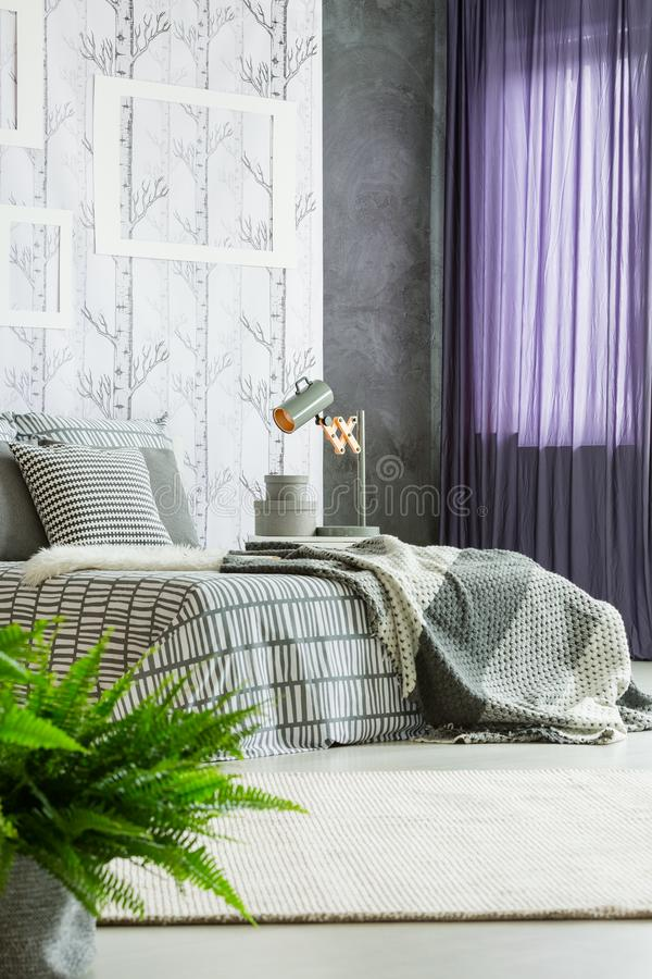 Purpur drapiert im modernen Schlafzimmer lizenzfreies stockfoto