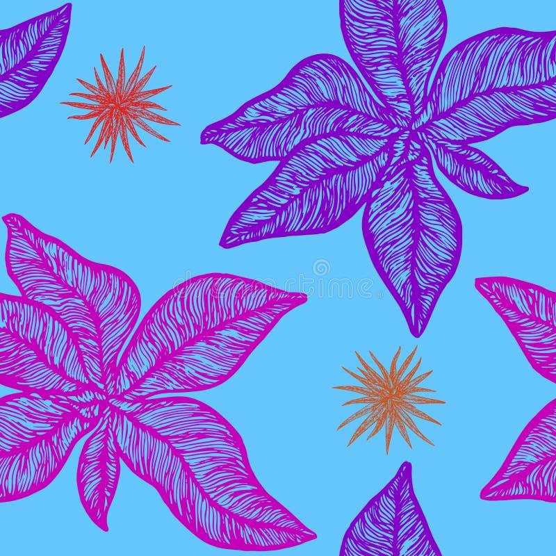Purpur i menchii symphytum officinale i chlorophytum roślina ilustracji