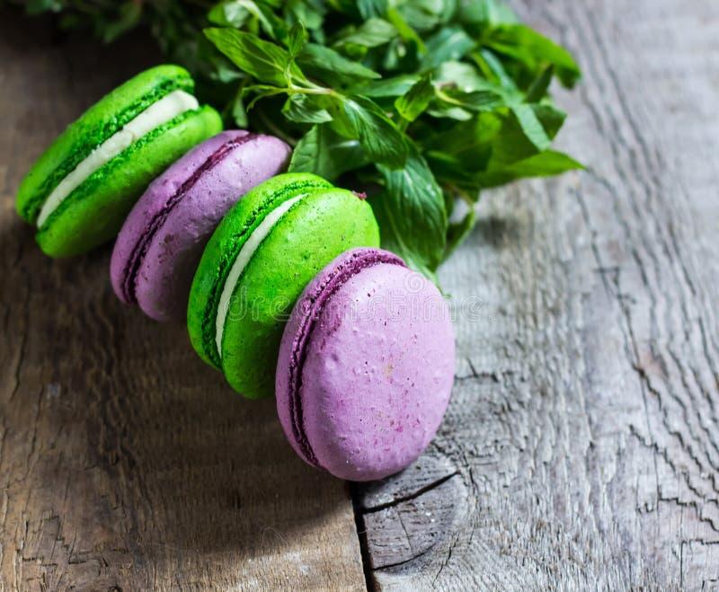 Purpur i zieleni macaroon zdjęcia royalty free