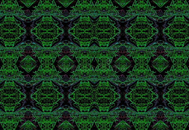 PURPUR I zieleni NEONOWY wzór NA CZARNYM tle ilustracja wektor