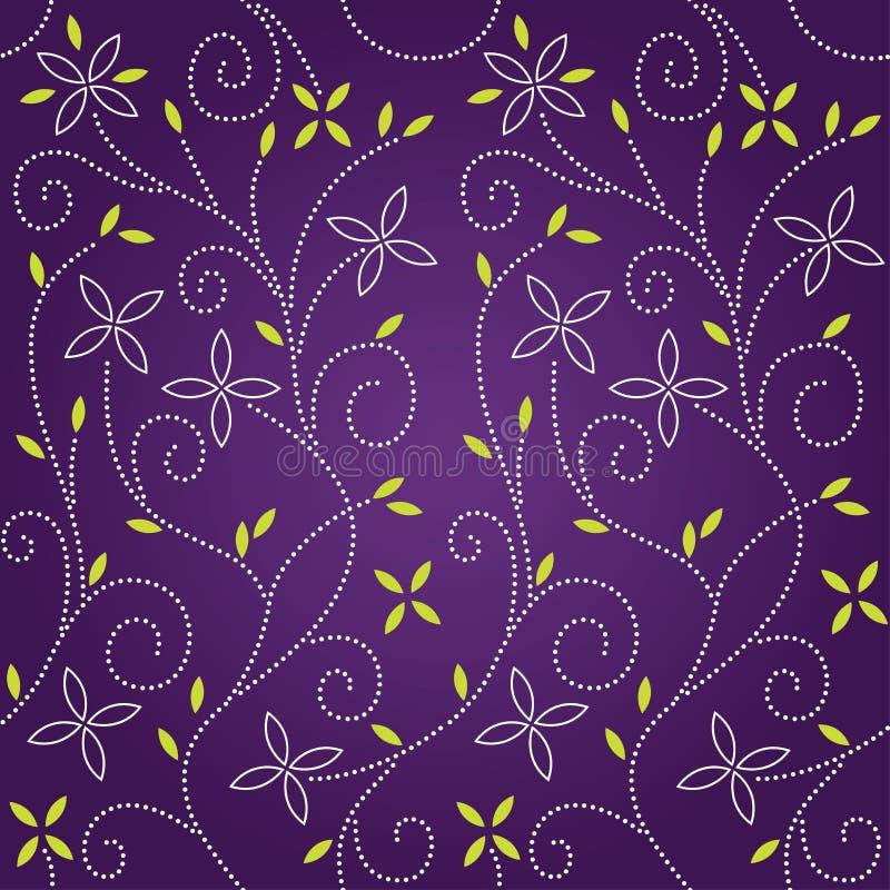purpur seamless swirl för blom- modell stock illustrationer