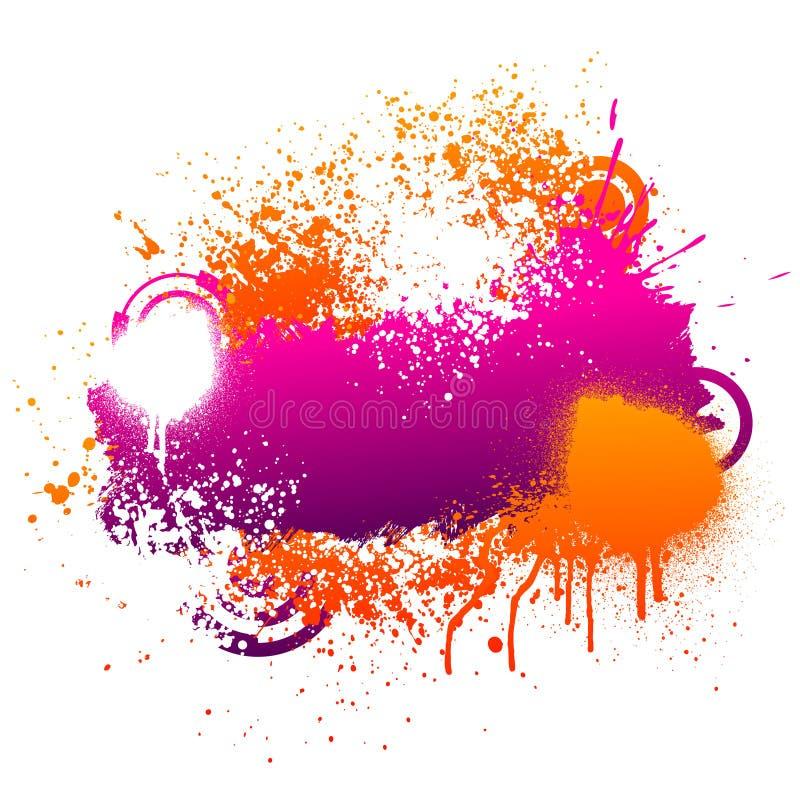 purpur splatter för orange målarfärg stock illustrationer