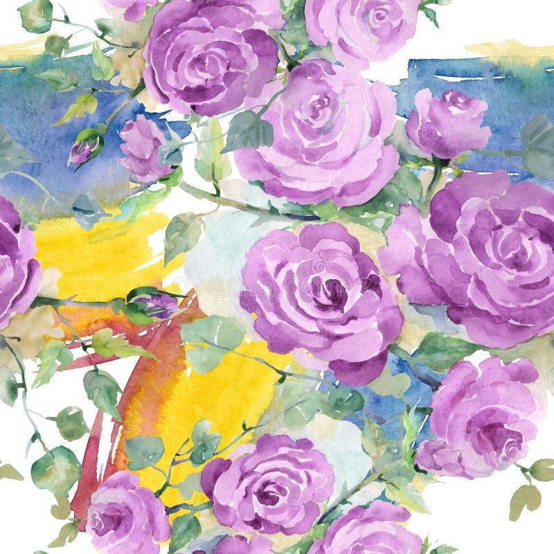 Purpur stieg botanische mit Blumenblumen des Blumenstrau?es Aquarellhintergrund-Illustrationssatz Nahtloses Hintergrundmuster vektor abbildung