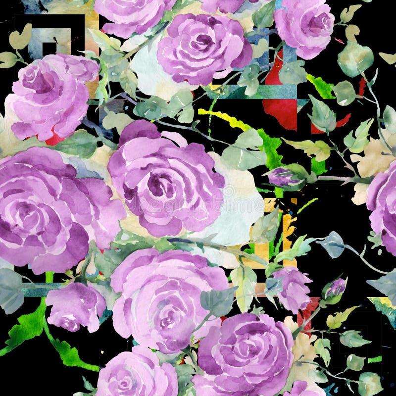 Purpur stieg botanische mit Blumenblumen des Blumenstrau?es Aquarellhintergrund-Illustrationssatz Nahtloses Hintergrundmuster stock abbildung