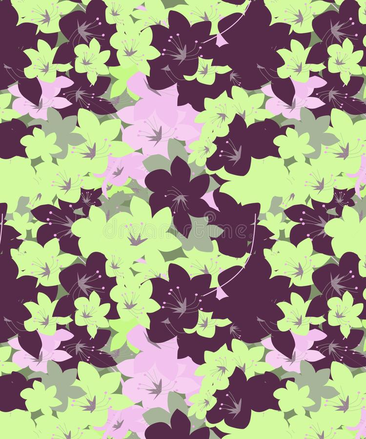 Purpur und nahtloses Muster der grünen Zusammenfassungsorchideen stock abbildung