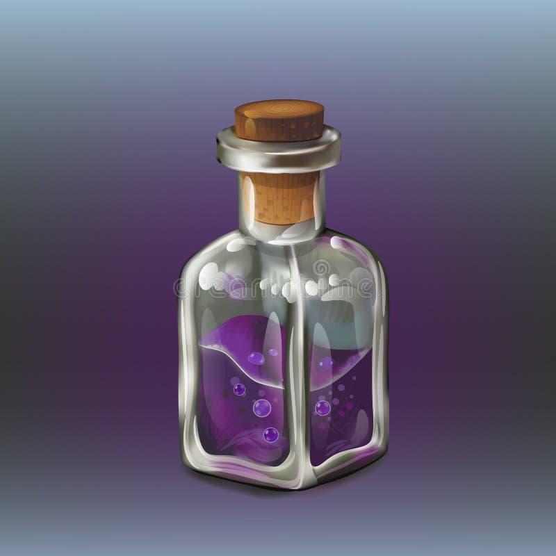 Purpura jadu butelka ilustracja wektor