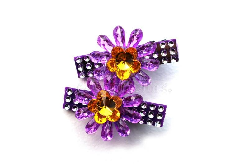 Purpura kwiatu hairpin fotografia stock