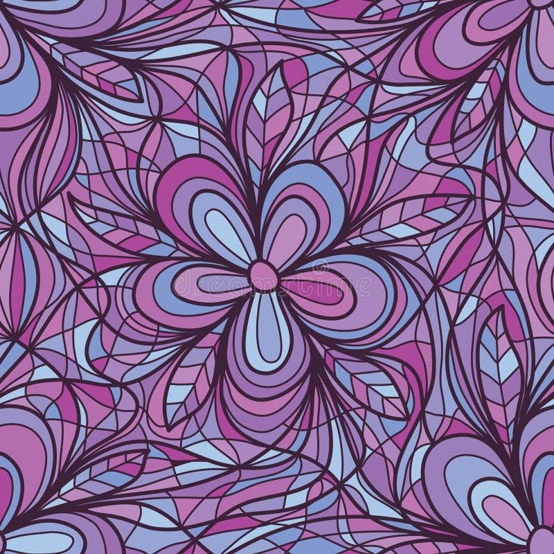 Purpura kwiatu zawijas łączy bezszwowego wzór ilustracja wektor
