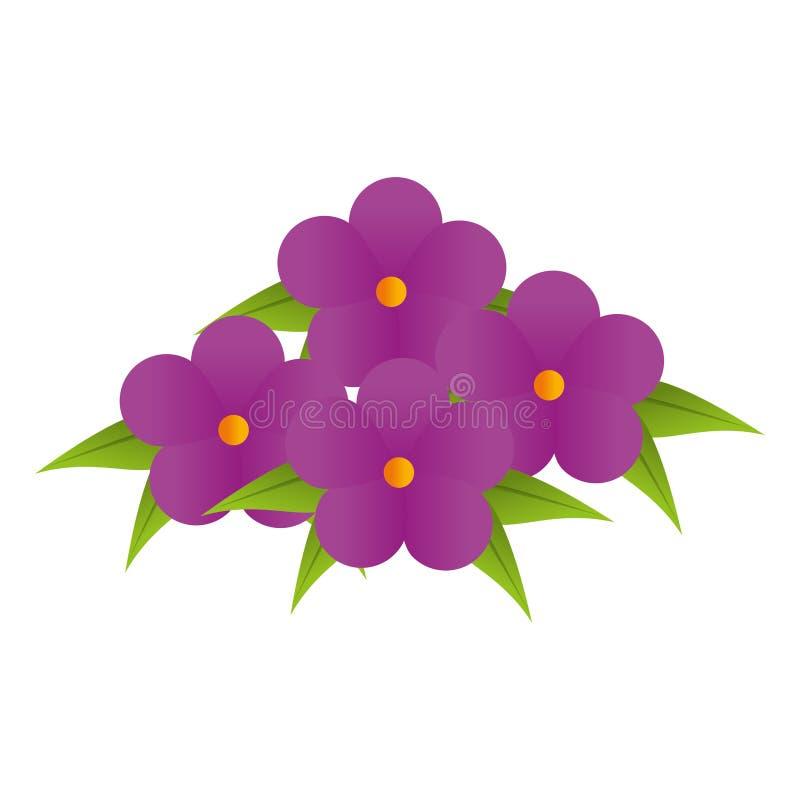 Purpura kwitnie bukieta kwiecistego projekt z liśćmi royalty ilustracja