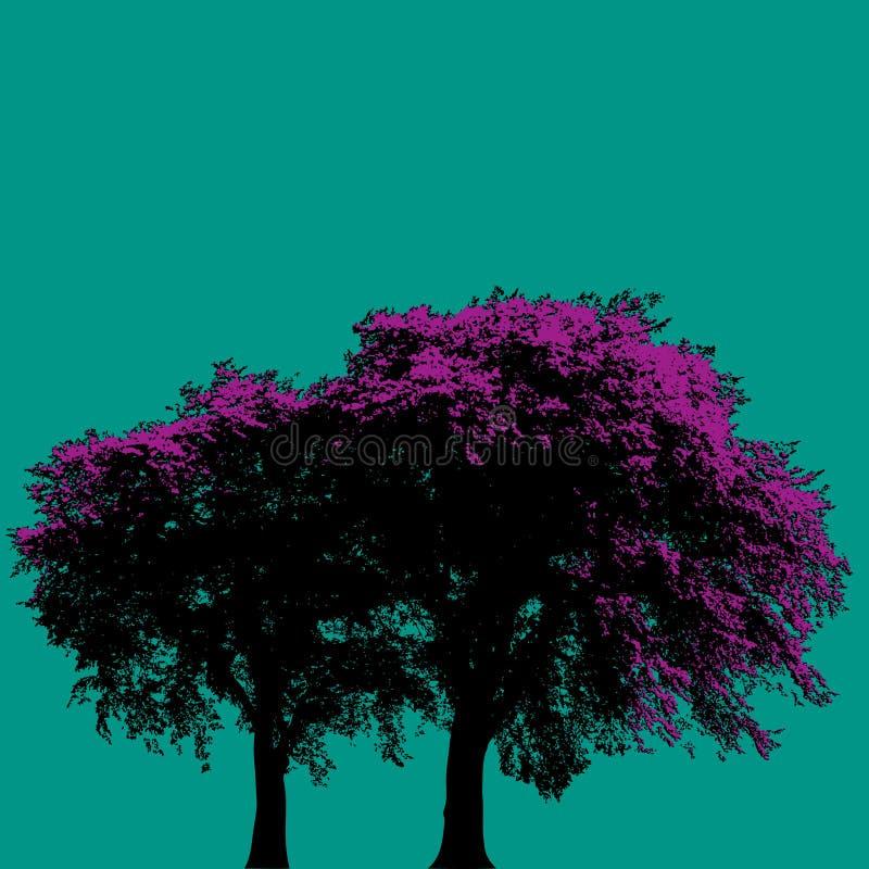 purpura trees royaltyfri illustrationer