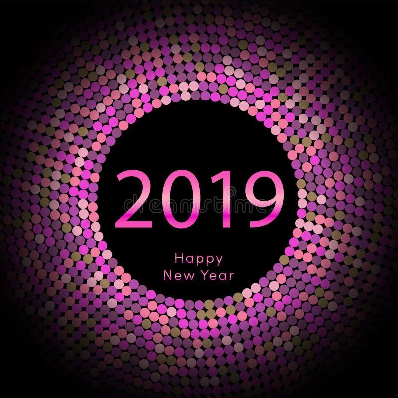 Purpurfärgad affisch för nytt år 2019 för discoball hälsa Cirkeldiskett för lyckligt nytt år med partikeln Blänka den gråa prickm stock illustrationer
