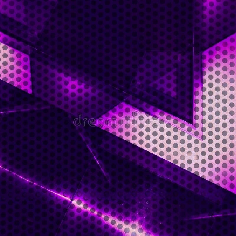 Purpurfärgad aluminum yttersida med hål Metallisk geometrisk texturbakgrund vektor illustrationer