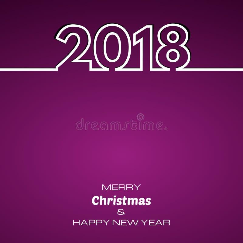 Purpurfärgad bakgrund 2018 för lyckligt nytt år royaltyfri illustrationer