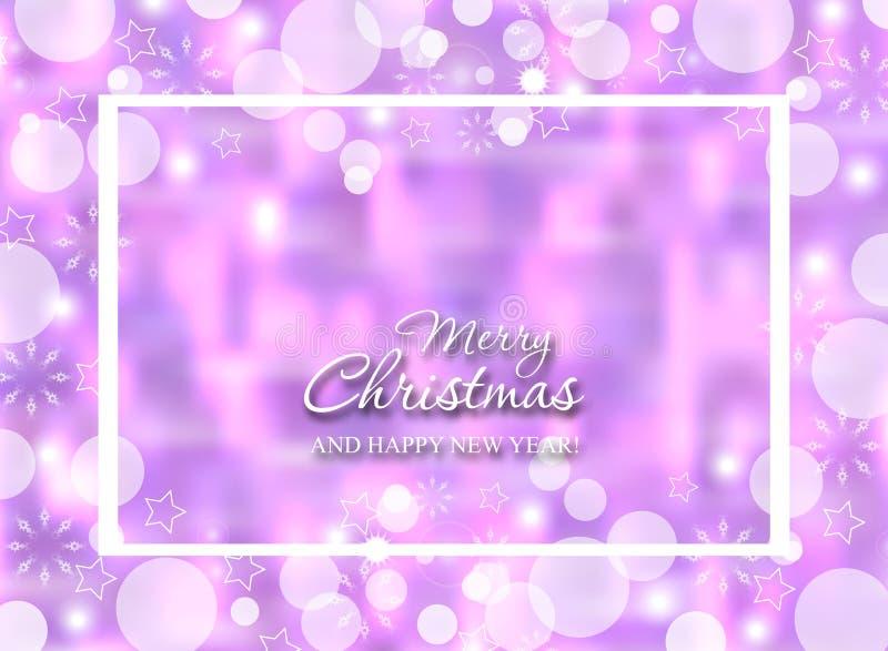 Purpurfärgad bakgrund för vinterbokeh med snöflingor Suddiga glödande garneringar för jul vektor royaltyfri illustrationer