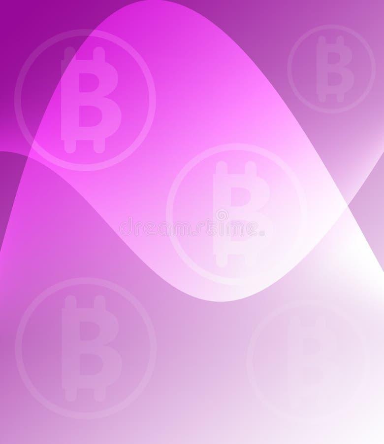 Purpurfärgad begreppsmässig Violet Pink Abstract Bitcoin Concurrency bakgrund stock illustrationer