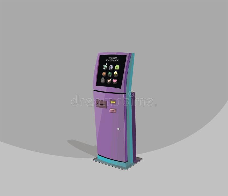 Purpurfärgad betalningterminal, Digital pekskärm, växelverkande kiosk, kollektiva betalningar stock illustrationer