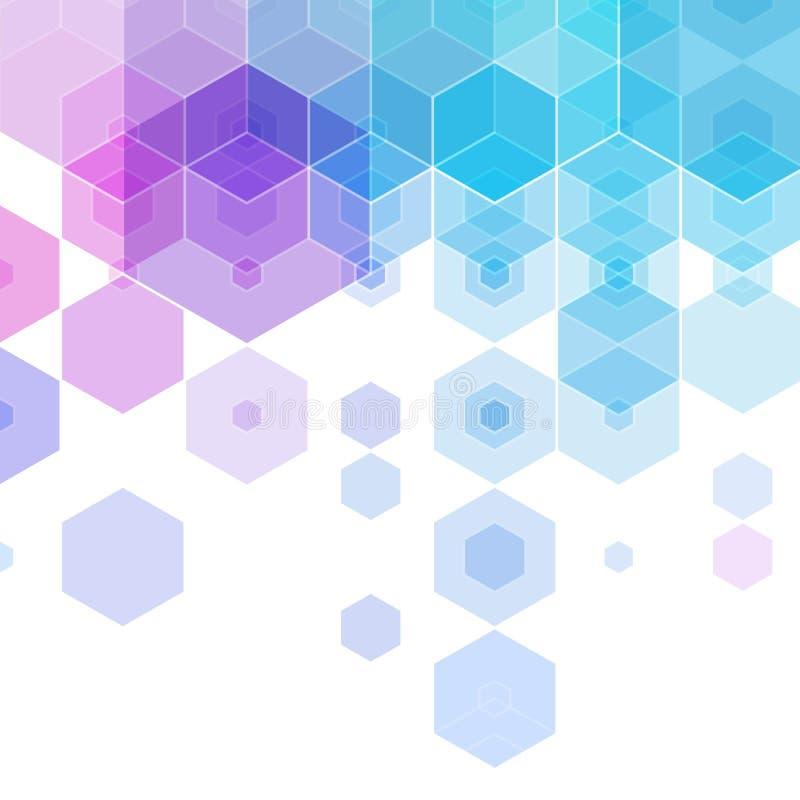 purpurfärgad blå sexhörning abstrakt bakgrundsvektor 10 eps stock illustrationer