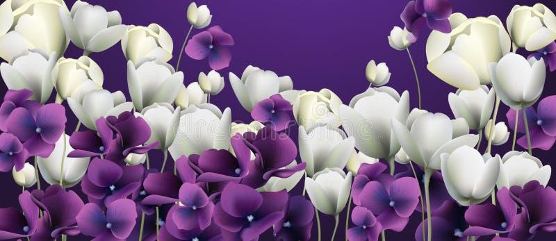 Purpurfärgad blommabanervektor Duotone retro blom- bakgrunder royaltyfri illustrationer