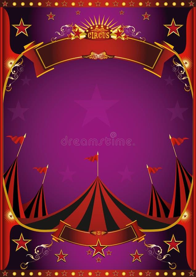 Purpurfärgad cirkusaffisch stock illustrationer