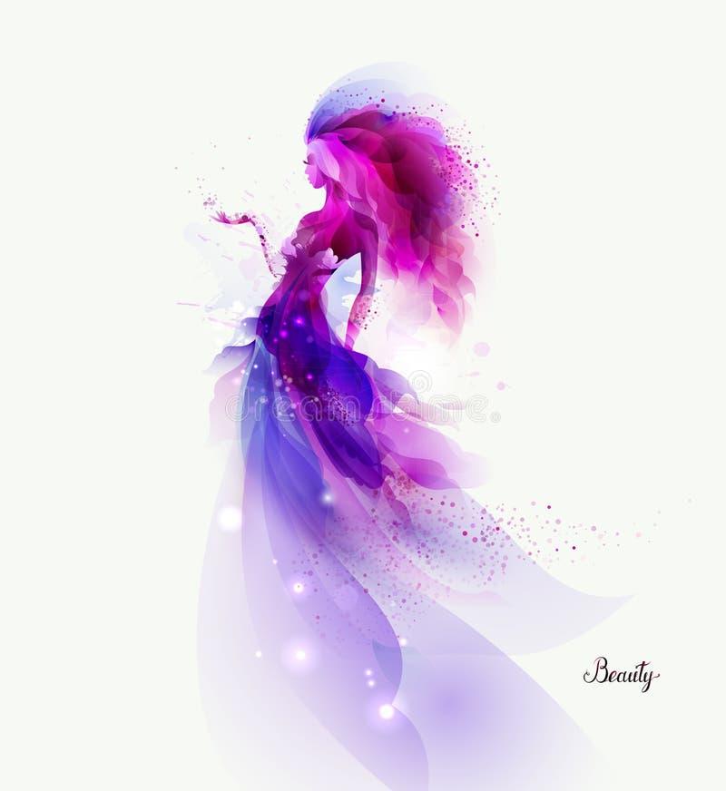 Purpurfärgad dekorativ sammansättning med flickan Magentafärgade fläckar bildat abstrakt kvinnadiagram vektor illustrationer