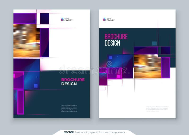 Purpurfärgad design för orientering för broschyrräkningsmall ?rsrapport f?r f?retags aff?r, katalog, tidskrift, reklambladmodell vektor illustrationer