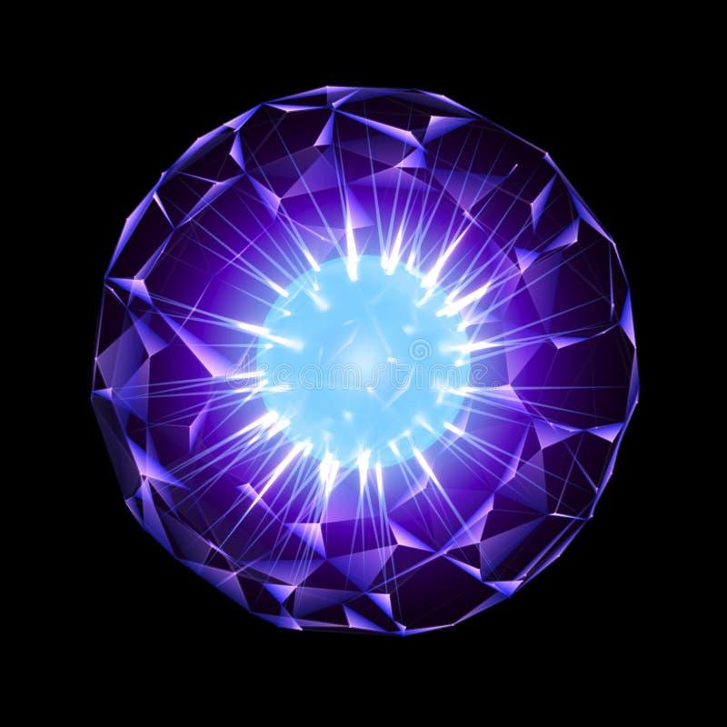Purpurfärgad energisfär med glödande blå kärna som isoleras på svart arkivfoton