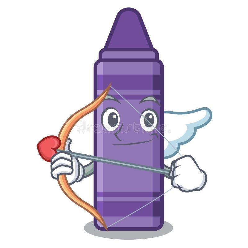 Purpurfärgad färgpenna för kupidon ovanför tecknad filmboken stock illustrationer